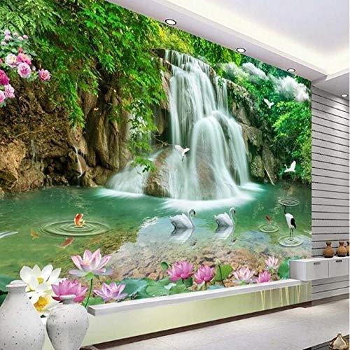 3D groot behang muurschildering foto luxe niet-geweven muur decoratie groot - schaal muurschilderingen drie - dimensionale landschap watervallen landschap achtergrond 400 * 280cm Fo1525