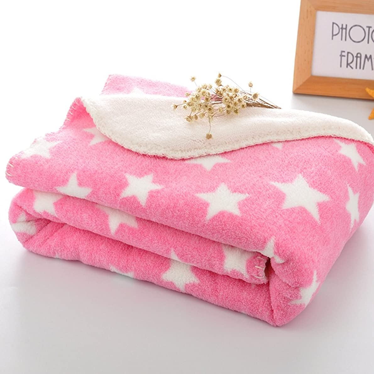 火山のカバレッジホイップブランケット 子供用 毛布 かわいい 星柄 ひざかけ 柔らか 暖かい 軽量  春?夏用 洗濯可能 ピンク75*100