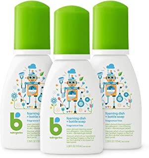 Babyganics Foaming Dish & Bottle Soap for Travel, Fragrance Free, 3.38oz, 3 Pack,..