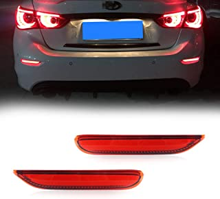 GTINTHEBOX 3D Optic Red LED Rear Bumper Reflector Brake Tail Lights w/Sequential Turn Signal Lamps, Strobe Brake Lighting Kit For Infiniti Q50 QX56 QX60 QX80 Nissan Pathfinder Rogue, etc