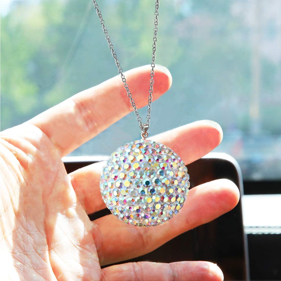Bling Interior Accessories Bling Ball for Car Rear View Mirror Accessories Bling Decor Car Mirror Ornaments Crystal Rhinestone Bling Car Accessories