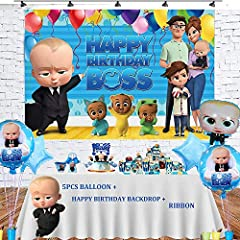 【 Packaging Includes 】1 pcs boss baby balloon,2 pcs star foil balloon,2 pcs baby boss duplex prints foil round balloons,1 pcs 5X3ft happy birthday banner backdrop 【 Material 】 Balloons Made qudality aluminum foil,large size and thickened foil balloon...