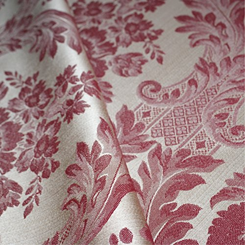 Loome Porchester 'Bordeaux Large Pattern' : Red Damask Upholstery Fabric from Fabrics, Sample 10 x 14 cm