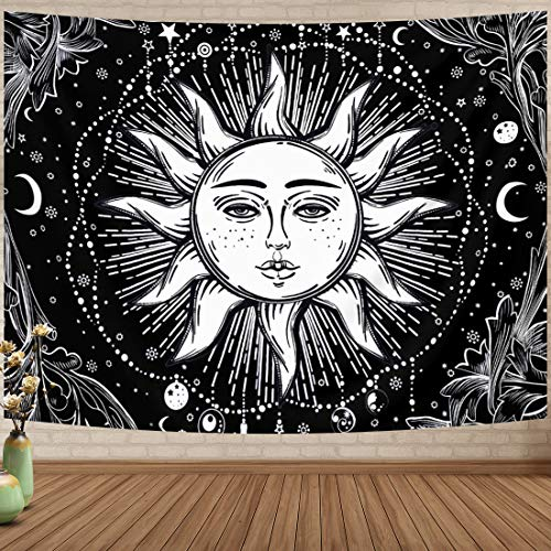 HexyHair Tapestry Wall Hanging for Bedroom Black and White, Art Wall Blanket Burning Sun and Moon Aesthetic Home Dorm Decor for Living Room