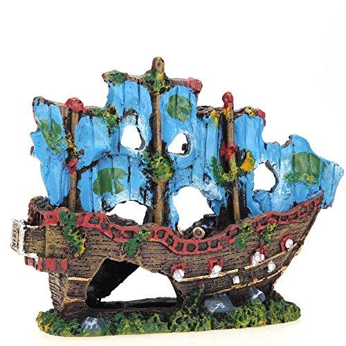 LIUZHI Resina acuario decoración ornamento barco barco barco destructor pescado tanque