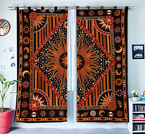 Burning Sun Fenster Treatments & Volance Schlafzimmer Decor Handgefertigte Wand hängende Boho Tür Baumwolle Bohemian Mandala Tapisserie Balkon Sheer Room Divider Indian Drapes 2 Panel Set Vorhang