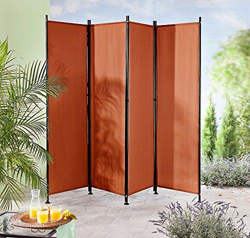 IMC Paravent 4-teilig terrakotta Raumteiler Trennwand Sichtschutz, faltbar/flexibel verstellbar, wetterfester Polyester-Stoff, Schwarze Metallstangen
