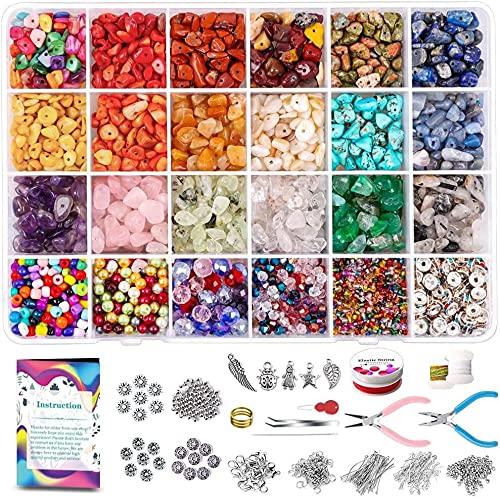 AFANGMQ Cuentas de Cristal de Cristal de Piedras Preciosas de 3800 unids con Huellas de Piedra Espaciador Kit de Cadena elástica para Pulsera Pendiente de joyería