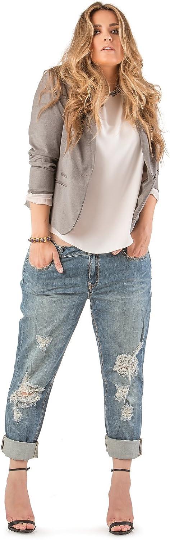 Standards & Practices Plus Size Womens Indigo Distressed Boyfriend Premium Jeans