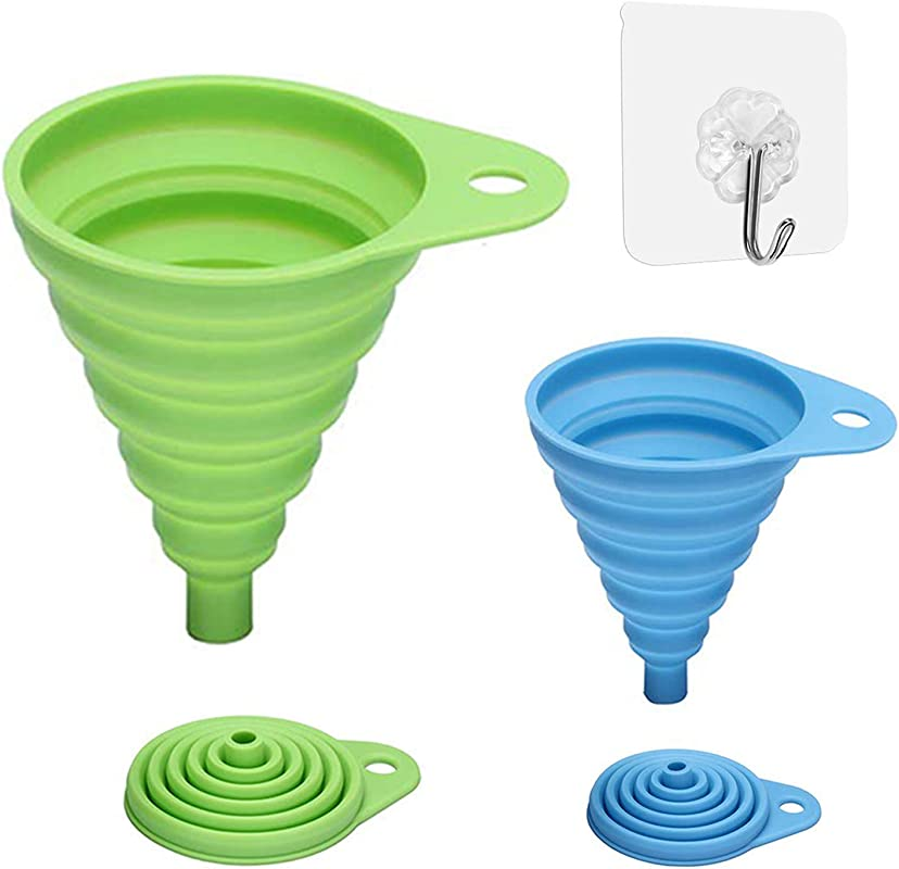 2 Pieces Sizes Colors Portable Mini Kitchen Silicone Collapsible Funnel GREEN Blue