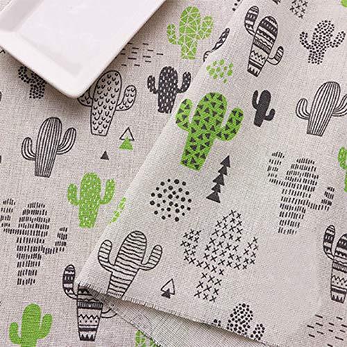 ONECHANCE Tela de Algodón de lino por The Meter Mantel Bricolaje Material 100x150cm Color Cactus lindo Tamaño 2 metros