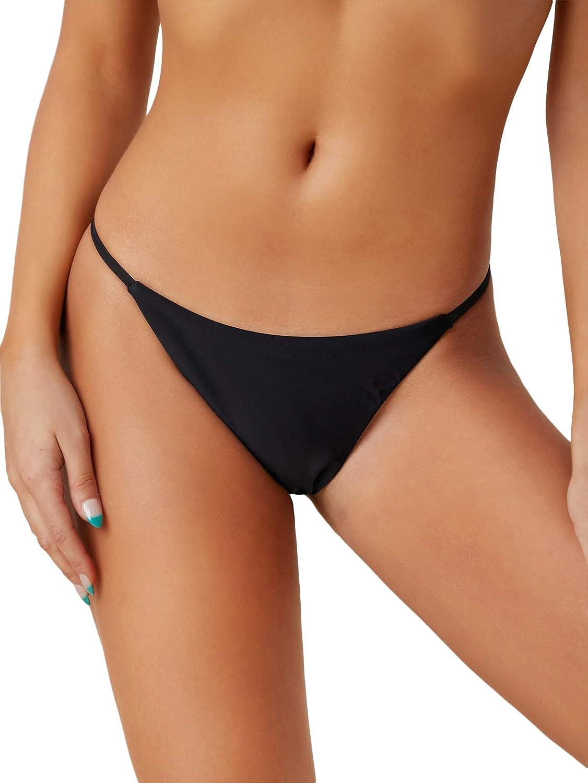 SheIn Women's Basics Thong Bikini Bottom Beachwear Solid Swimsuit Panty