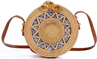 Sturdy Fashion Beach Handbag PU Shoulder Strap Adjustable Length Hand-Woven Rattan Handbag Hollow Sun Flower Round Cross-Body Handbag Large Capacity (Color : Brown, Design : A)
