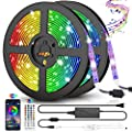 LED Strip Lights, 32.8ft RGB Color Changing Rope Lights 300 LEDs SMD5050 Light Strips Voice and Music Sync Smart LED Lights for Home, TV and Party Decoration-Remote Control + Bluetooth APP Controlled