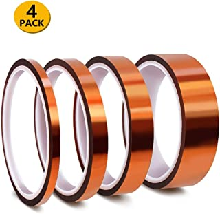 """HighTempTape,4Pack High Temperature Resistant Tape Multi-SizedValue 1/8"""",1/4"""",1/2"""",1""""with Silicone Adhesive for Masking, Soldering etc.HeatResistanceUpto 500℉(260℃)"""