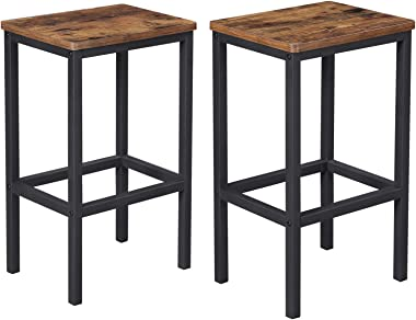 VASAGLE ALINRU Bar Stools, Set of 2 Bar Chairs, Kitchen Breakfast Bar Stools with Footrest, Industrial in Living Room, Party