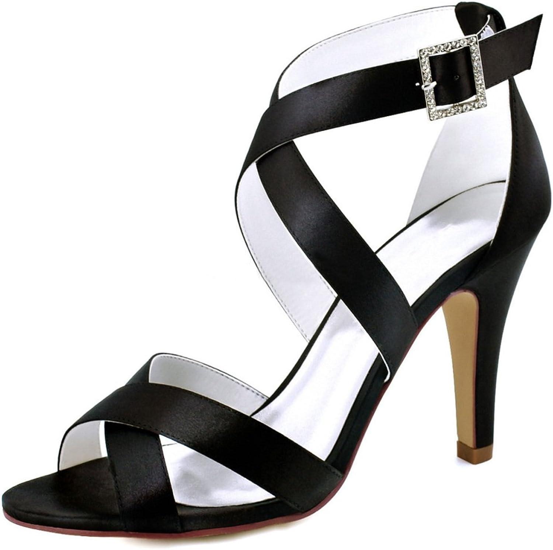 Minishion Women's Buckle Ankle Wrap Satin Trendy Wedding Dress Sandals