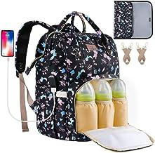 ORANIFUL Bolso Cambiador para Mamá Bolso de Pañales para Bebé de Gran Capacidad con Multifuncional Mochila de Viaje Impermeable con Puerto USB Bolsillos Aislados para el Cuidado del Bebé(Negro)
