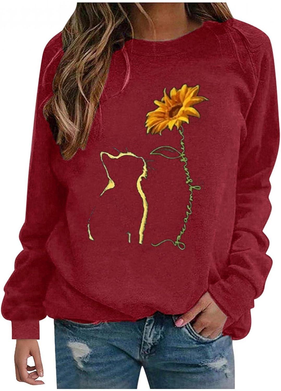 FABIURT Womens Long Sleeve Tops,Women's Dandelions Sunflower Graphic Crewneck Sweatshirt Loose Tunics Tops Tee Shirts