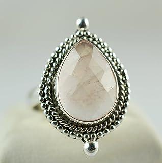 Rose Quartz Pear Shape 925 Solid Sterling Silver Handmade Ring Size 3-14 US