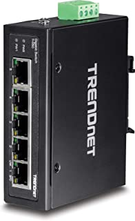 TRENDnet 5-Port Hardened Industrial Gigabit DIN-Rail Switch, TI-G50, 10 Gbps Switching Capacity, IP30 Rated Gigabit Network Switch (-40 to 167 ºf), DIN-Rail & Wall Mounts Included, Lifetime Protection