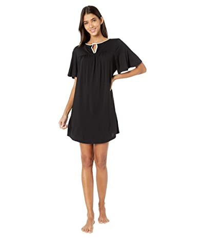 Kate Spade New York Evergreen Modal Jersey Short Sleeve Sleepshirt (Black) Women