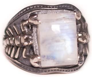 Falcon Jewelry Natural Moonstone Diamond Gemstone White 925 Sterling Silver Scorpion Animal Men Ring, Free Express Shipping