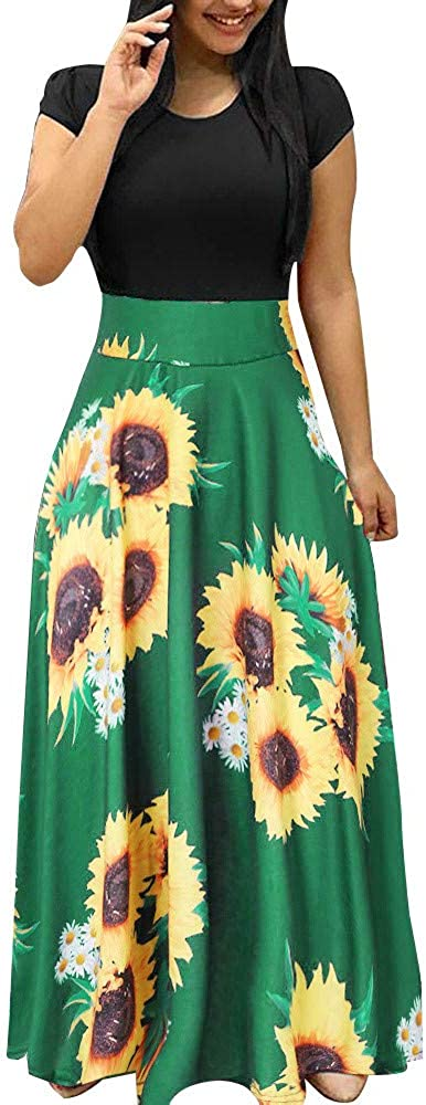 Toeava Maxi Dresses for Women, Women Summer Casual Short Sleeve Sunflower Patchwork Boho Tank Dresses Tunic Long Dresses