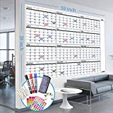 Jumbo Dry Erase Wall Planner, 39'' x 59'', Reusable Yearly Monthly Planner for Office, Large Whiteboard Year Planner, NO Ghost, PET Film, With 3 Markers