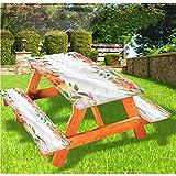 LEWIS FRANKLIN - Mantel ajustable para mesa de picnic y banco, diseño de pétalos de flores suaves y borde elástico, 28 x 72 pulgadas, juego de 3 piezas para mesa plegable