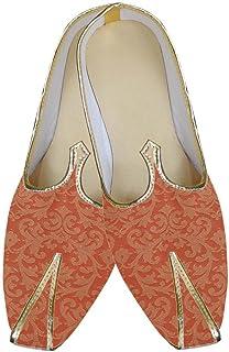 INMONARCH Mens Orange Designer Wedding Shoes MJ0126