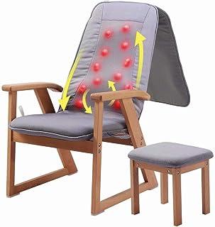 MAS-AGEE Shiatsu Massage Chair Recliner with Heat, Deep Tissue Kneading Massage Back, Shoulder, Waist for Muscle Relax, Adjustable Backrest, Wooden Frame, Footstool