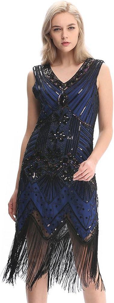 Pilot-Trade 20s Flapper Gatsby Charleston Sequin Bead Evening Cocktail Prom Dress