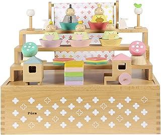 プーカのひなにんぎょう ハコ 雛人形 ミニ ひな人形 3段飾り 木製三段5人飾り 雛祭 ひなまつり お雛様 お内裏様