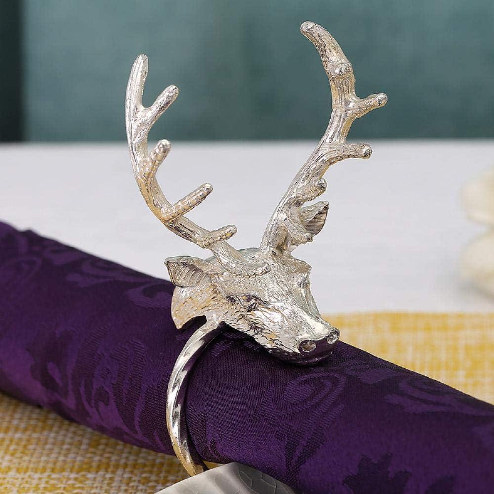 MWBLN Long-awaited Napkin Ring 6pcs Metal Christmas Max 89% OFF Deer Circle