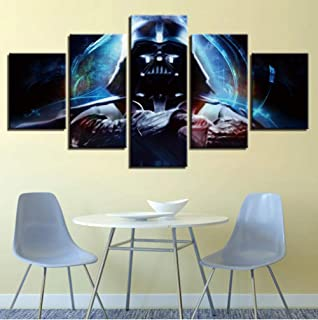 YYnight Canvas Painting Wall Art Modular Living Room Decoration Frame 5 Piece Movie Poster HD Print Darth Vader Picture-30CMx60/70/80CM