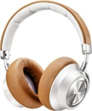 Headphones with Microphone/Deep Bass Wireless Headphones Over-Ear, Protein Earpads 30H Playtime for Travel Work TV PC Cellphone (White & Brown)