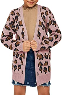 Girls Open Front Cardigan Casual Kids Leopard Knit Long Sleeve Cover Ups Fall Outwear with Pockets