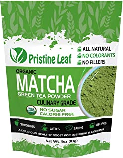 Pristine Leaf | Organic Matcha Green Tea Powder | Culinary Grade 4oz / 113grams | Great for Smoothies, Latte, Recipes, Bak...