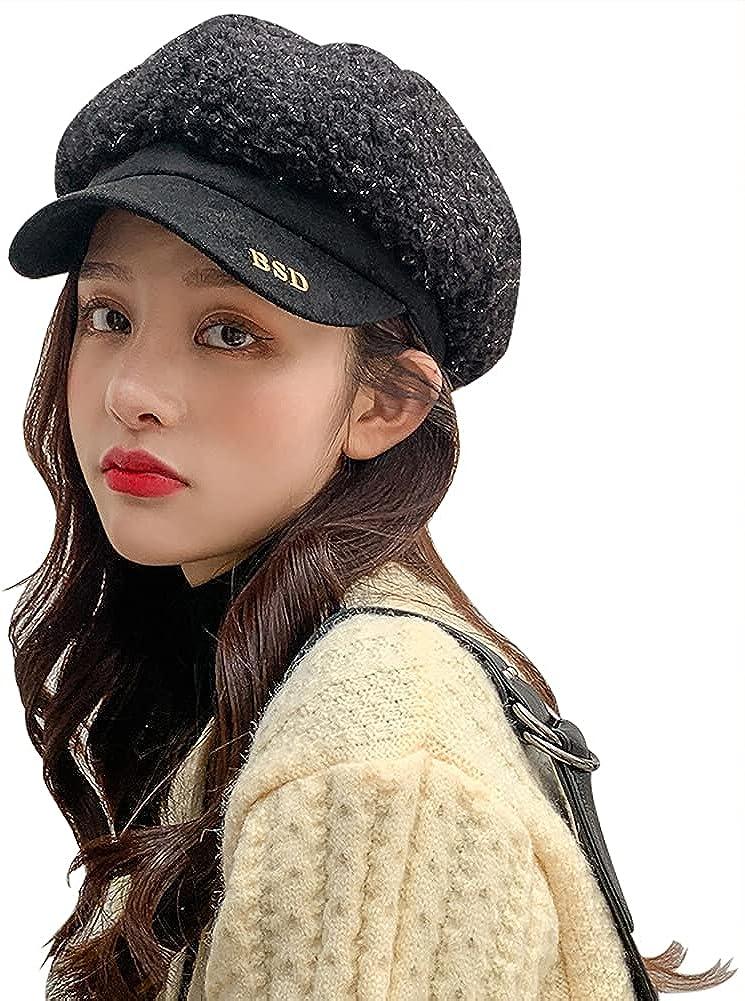 Women's Newsboy Caps Beret Cap Thick Warm Octagonal Hat Lamb Wool Military Hat for Ladies Autumn Winter Hat