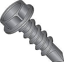 Steel Self-Drilling Screw, Black Oxide Finish, Hex Washer Head, Hex Drive, #3 Drill Point, #12-14 Thread Size, 1-1/4