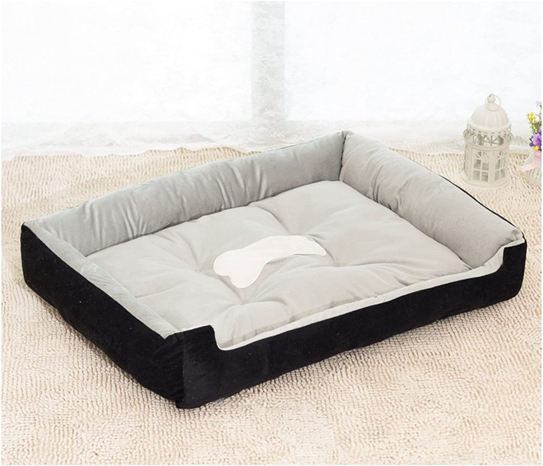 RBL Dog Cat Pet Bed Mat with 2 colors 6 size (XL(90x70x15cm), Black)