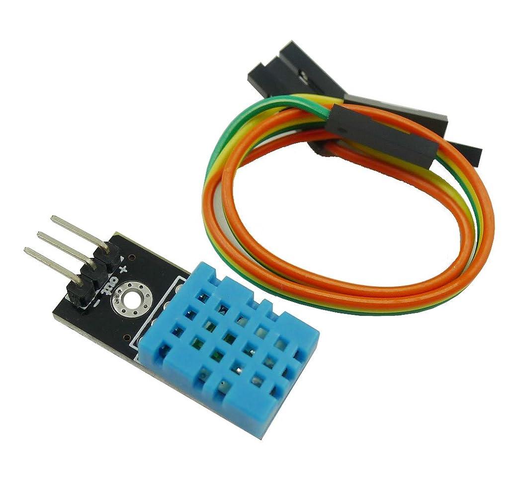 満足チャーター振る舞いKKHMF DHT11 湿度センサーモジュール 温度センサー モジュール Arduinoと互換 デュポンラインと付属