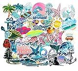 ZJJHX Dibujos Animados Verano Surf Playa Sol Graffiti Pegatinas Viaje Maleta refrigerador monopatín teléfono móvil Impermeable Pegatinas de Coche 50 Hojas