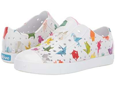Native Kids Shoes Jefferson Print (Little Kid) (Shell White/Shell White/Origami) Kids Shoes