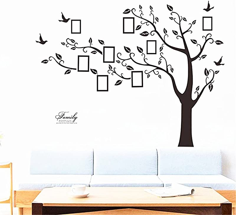 Large Family Tree Wall Decal DIY Black Photo Frame Tree Wall Decor Sticker Mural Decal Art D Cor For Living Room Home Decor
