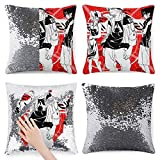 Anime Naruto Team 7 - Funda de almohada cuadrada de lentejuelas suave y duradera, ideal para decorar 39,9 x 39,9 cm, disponible en cuatro colores (sin almohada), color plateado