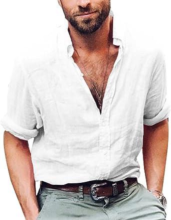 ShallGood Camisa Hombre Lino Blusa Casual De Manga Larga Blusa Suelta Casual Cuello Alto Transpirable Top Color Sólido Trabajo Camisa Shirt