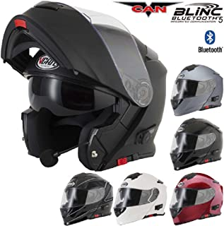 V271 BLINC Motorrad Bluetooth Helme VCAN Modular Flip Up Bluetooth Touring Helme - schwarz - XL