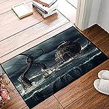 QDYLM Alfombra de baño de Microfibra esponjosa,Velero Antiguo Encontrado Monstruo Marino Disfrazado Ataque Kraken Feroz Batalla en el océ alfombras de Ducha de Suave Absorbente de Agua, 50x80 cm